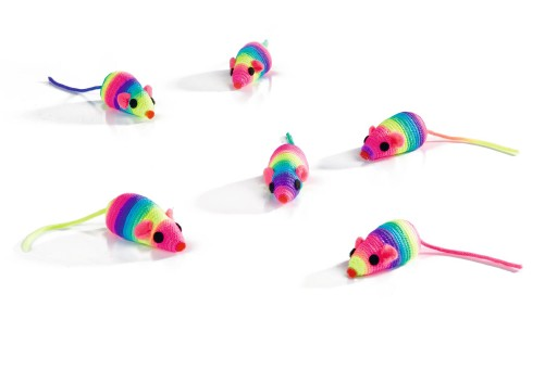 Beeztees Speelmuisje Kattenspeelgoed Rainbow 5 cm
