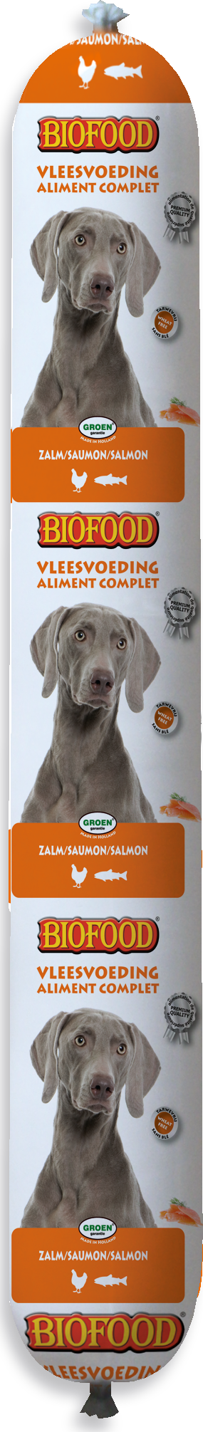 Biofood Vleesvoeding Worst Zalm 800 gr hondenvoer Per stuk